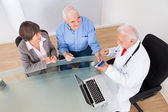 Senior Couple Discussing Over Medicine — Stock Photo
