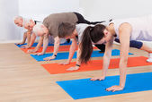 Trainer And Customers Doing Push Ups — Stockfoto