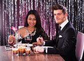 Couple Having Meal At Restaurant — Foto de Stock