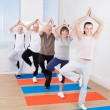 People Practicing Yoga In Tree Position At Gym — Stock Photo