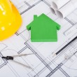 Tools. Hardhat And Model House On Blueprint — Stock Photo