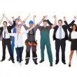 Excited People With Different Occupations Celebrating Success — Stock Photo
