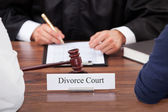 Couple With Judge In Court — Stock Photo