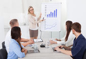Businesswoman Giving Presentation To Colleagues — Stock Photo