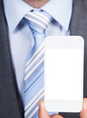 Businessman Showing Smartphone — Foto Stock