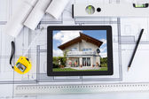 Digital Tablet With Architect's Tools Over Blueprint — Stock Photo