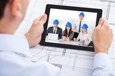 Architect Video Conferencing With Team Through Digital Tablet — Stock Photo