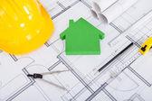 Tools. Hardhat And Model House On Blueprint — Stock Photo