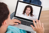 Man Video Conferencing With Woman — Stock Photo