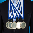 Midsection Of Businessman Wearing Medals — Stock Photo