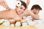 Couple Receiving Massage At Spa — Stock Photo