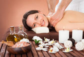 Woman Receiving Back Massaging In Spa — Stock Photo