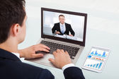 Businessman Video Conferencing On Laptop — Stock Photo