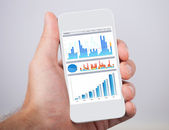 Hand Holding Mobile Phone With Financial Charts — Stock Photo