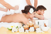 Woman Receiving Massage With Herbal Compress Stamps — Stock Photo