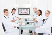 Doctors Attending Video Conference — Stock Photo
