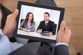 Video Conferencing With Colleagues — Stock Photo