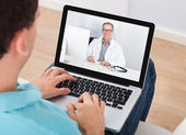 Video Chat With Doctor — Stock Photo