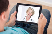Video Chat With Female Doctor — Stock Photo