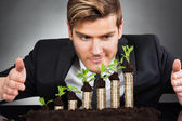 Businessman Protecting Coins In Saplings — ストック写真
