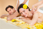 Couple Receiving Shoulder Massage At Spa — Stock Photo