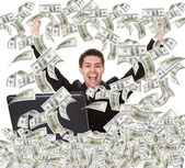 Businessman With Money Rain — Stock Photo