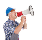 Manual Worker Speaking Into Megaphone — Stock Photo