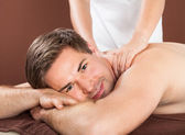 Man Receiving Back Massaging — Stockfoto
