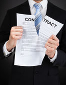 Businessman Tearing Contract Paper — Stock Photo
