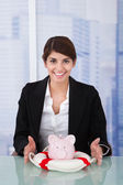 Businesswoman Protecting Piggybank — Stock Photo