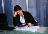 Stressed Businesswoman Working — Foto de Stock