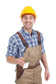 Manual Worker Giving Visiting Card — Stock Photo