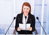 Businesswoman Giving Speech — Stock Photo