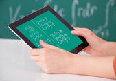 Student Solving Math's Problem On  Tablet — Stockfoto