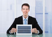 T Businessman Holding Solar Panel — Stock Photo