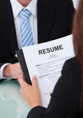 Female Candidate Holding Resume — Stock Photo