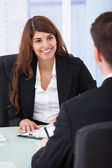 Businesswoman Interviewing Male Candidate — Stock Photo