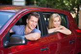 Couple Sitting In New Car — Stock Photo