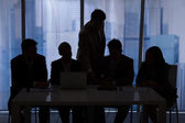 Silhouette Business People Discussing — Stock Photo