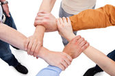 Friends Linking Hands In Team — Stock Photo
