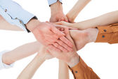 Friends With Their Hands Stacked Together — Stock Photo