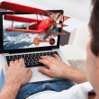 Man Watching 3D Movie On Laptop — Stockfoto #48700501