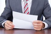Businessman Reading Document — Stock Photo