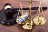 Gavel And Scales With Money — Stock Photo