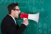 Professor Screaming On Megaphone — Stock Photo