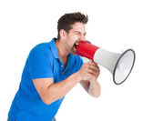 Man Screaming Into Bullhorn — Stock Photo
