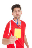 Referee Blowing Whistle,Showing Yellow Card — Stock Photo