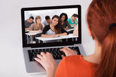Female Student Attending Online Lecture — Stock Photo