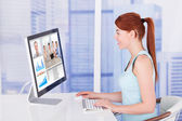 Businesswoman Video Conferencing With Team — Stock Photo