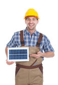 Confident Repairman Holding Solar Panel — Stock Photo